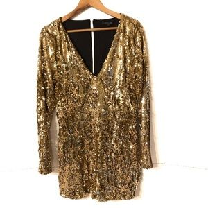 HAODUOYI Gold Sequin Long Sleeve Romper